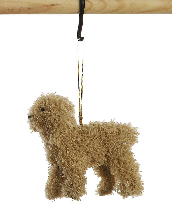 Furry Poodle Ornament Tan