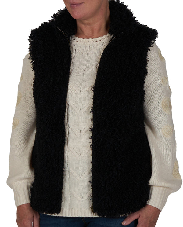 Fx Shearling Sleeveless Onyx