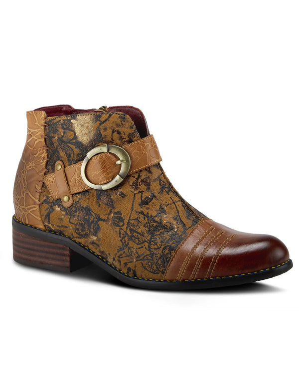 Hand Painted Leather Bootie CAMEL