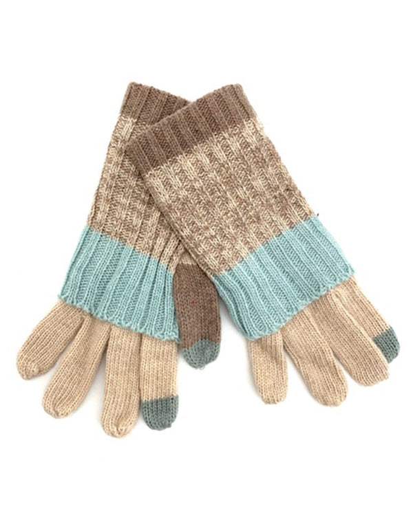 Stripe Knit Glove beige