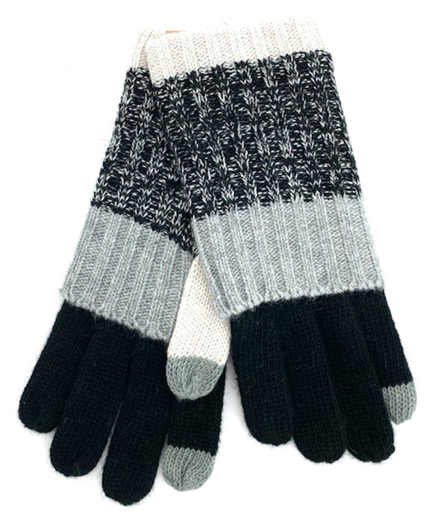 BLACK Stripe Knit Glove