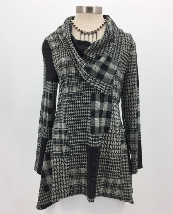 Radzoli 19508 Plaid Tunic with houndstooth patches