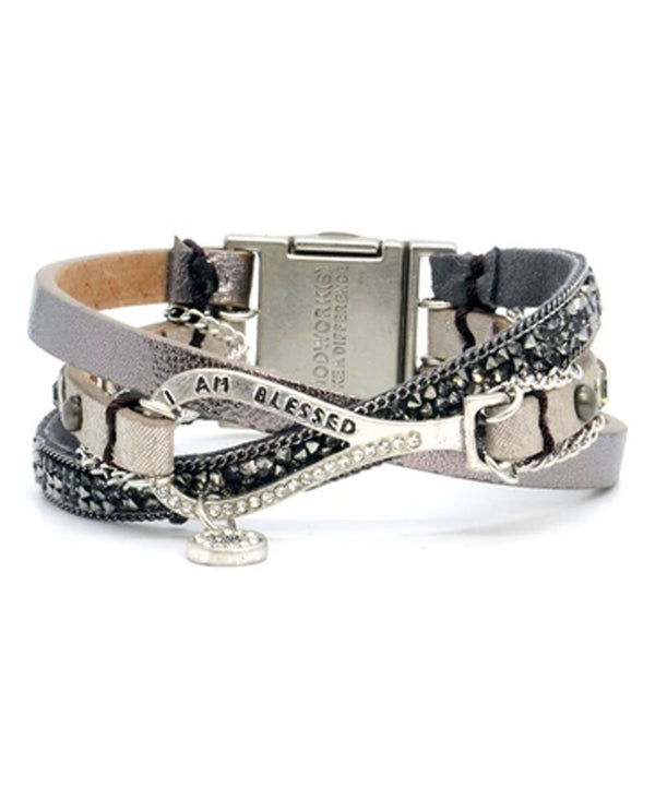 "Good Works FBT780IAMBLSSD ""I Am Blessed"" Fab Trio Bracelet Dark Grey"