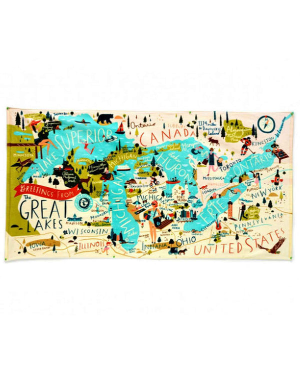 Spartina 449 Great Lakes Beach Towel cotton beach towel with a map of the Great Lakes