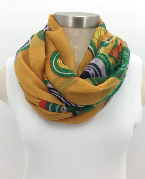 Green Gyroscope Dot Scarf with Fringe