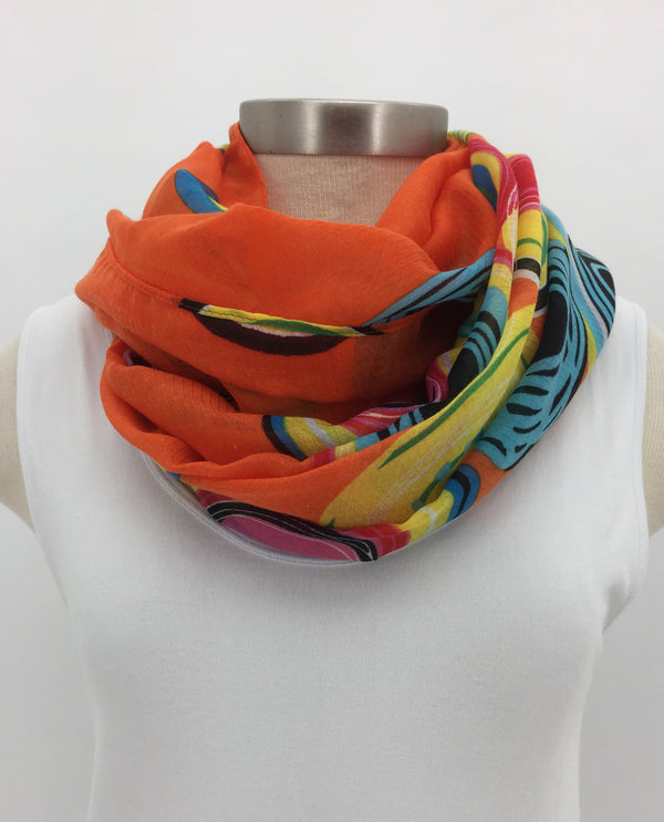 Orange Gyroscope Dot Scarf with Fringe