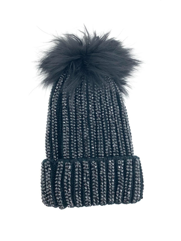 Rib Beanie with Stones black