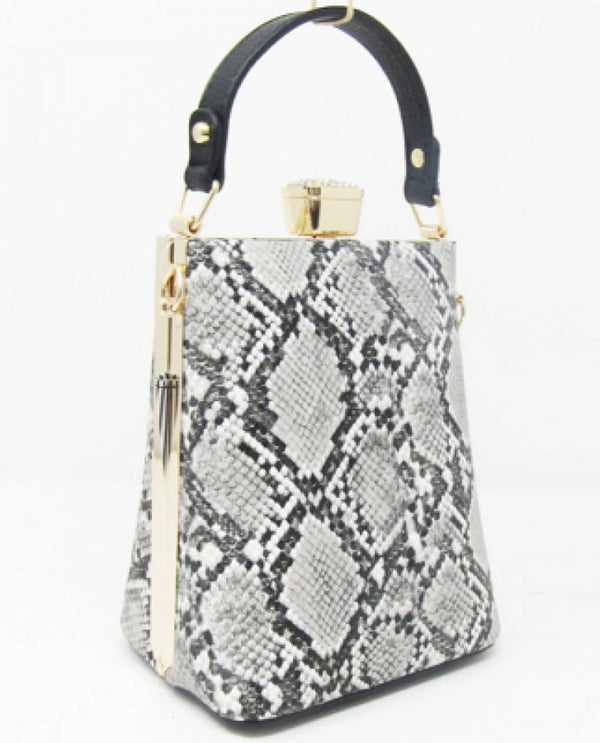 HY5285B Snakeskin Crossbody bag hard shell snakeskin bag with detachable strap