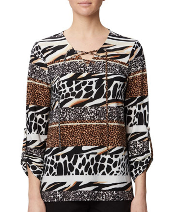 Harve Benard HM20KN241 Animal Print V Neck
