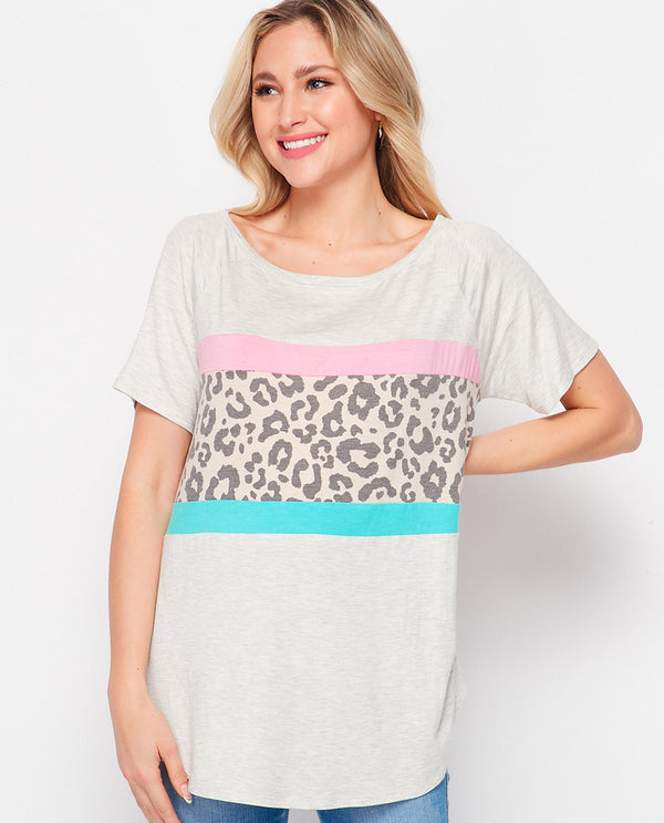 Honeyme T10314 Animal Stripe Top