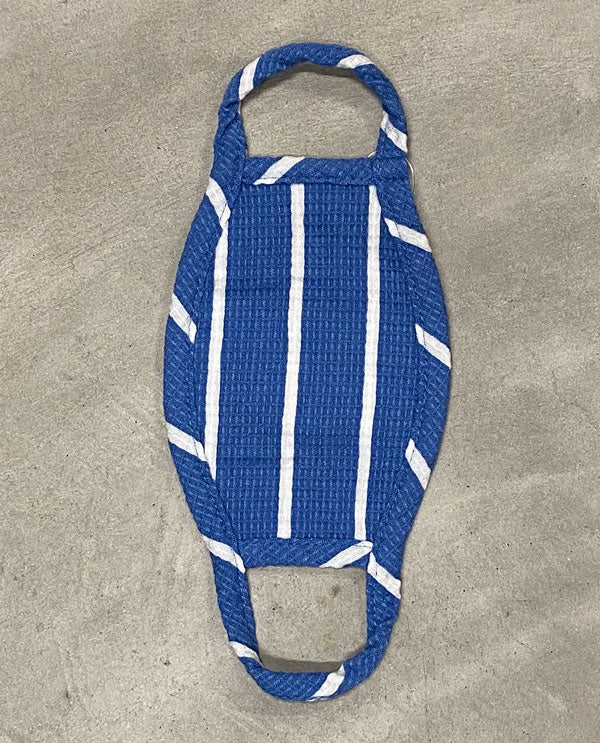Kids Bright Face Mask Blue And White Stripe