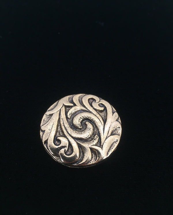 Vintage Scroll Magnetic Brooch Gold