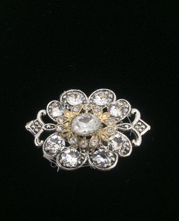 Vintage Inspired Magnetic Brooch Silver/Gold