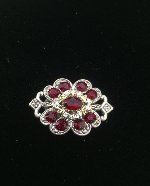 Vintage Inspired Magnetic Brooch SILVER RED