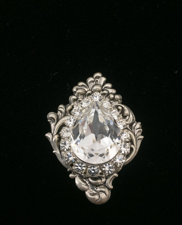 Vintage Inspired With Pear Stone Magnetic Brooch Silver Clear
