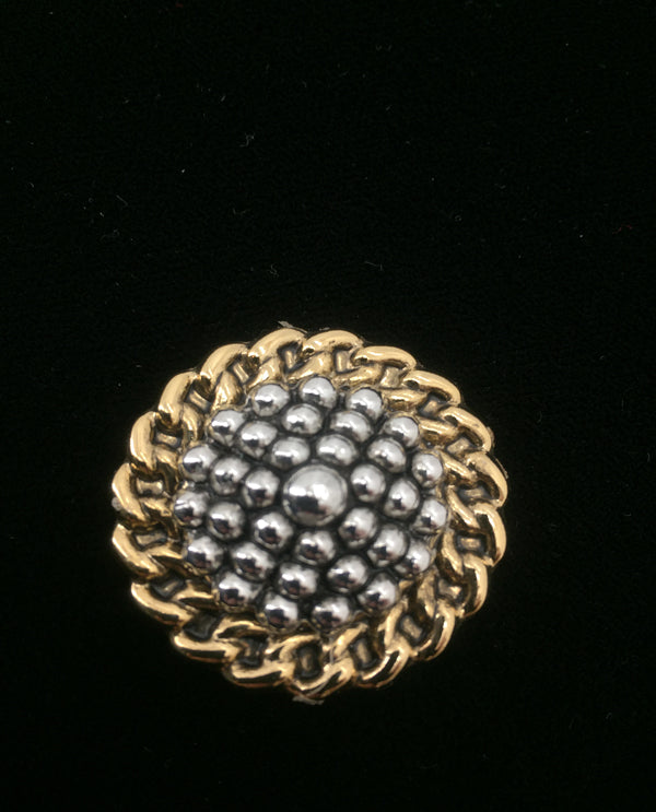 Hobnail Two-Tone Magnetic Brooch Gold/Silver