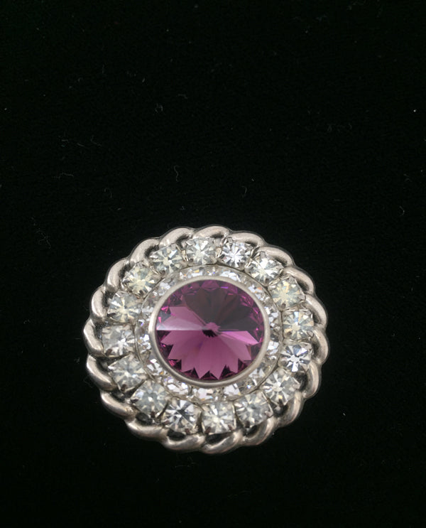 Roundel Two-Tone Magnetic Brooch Silver/Purple