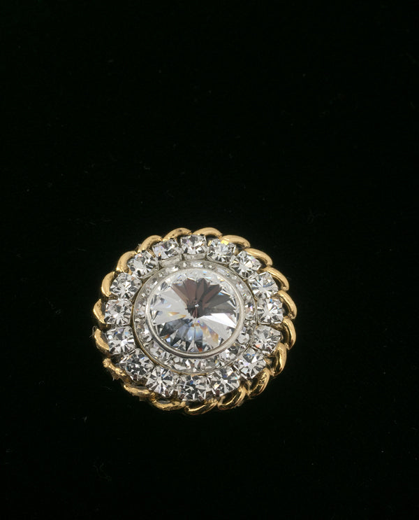 Roundel Two-Tone Magnetic Brooch Gold/Clear