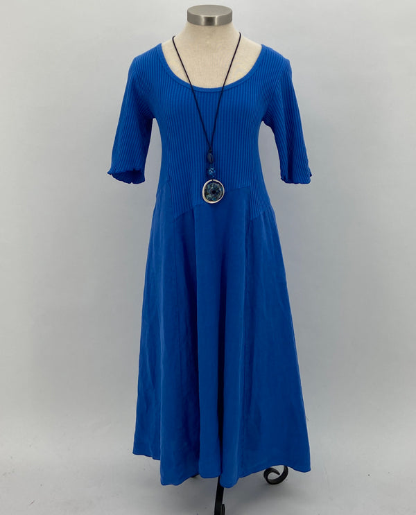 Fenini C43824 Linen Shirred Sleeve Dress In Marine Blue Front View