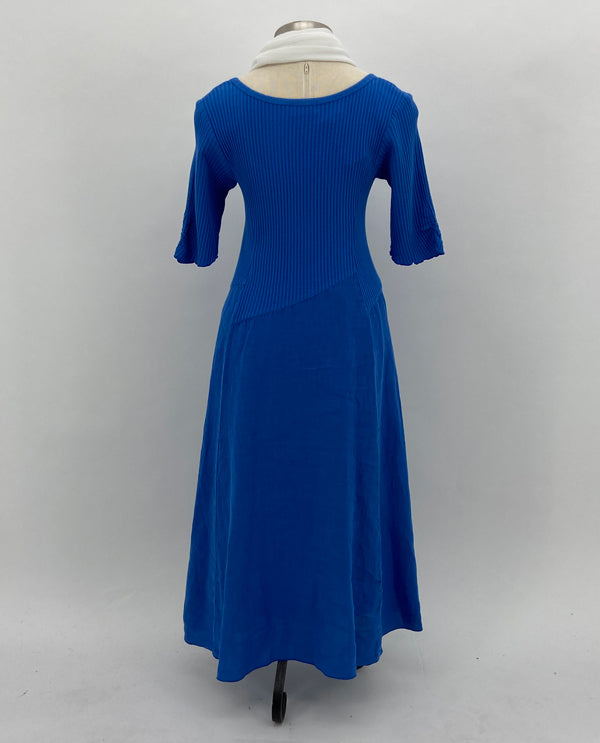 Fenini C43824 Linen Shirred Sleeve Dress In Marine Blue Back View
