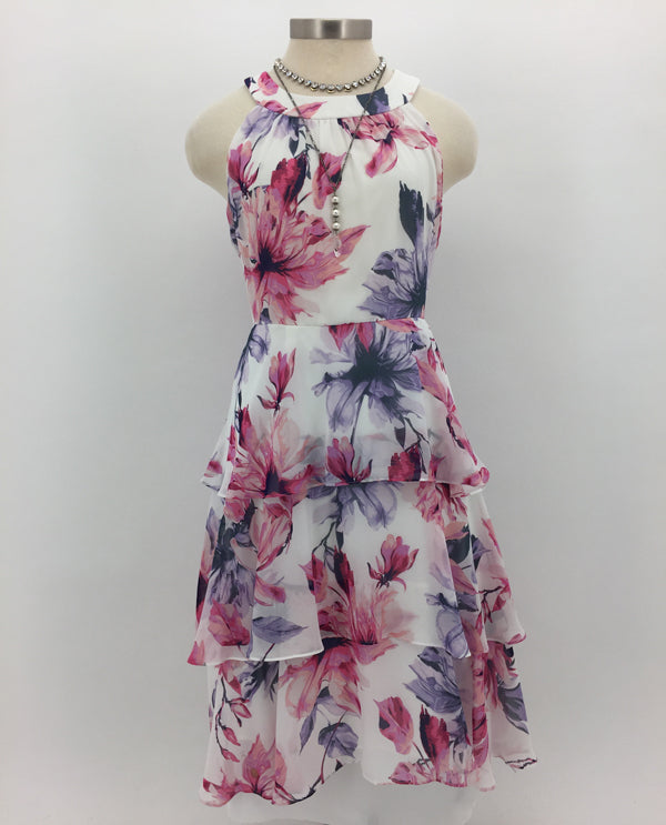 Multi Tiered Floral T Length Dress Front View