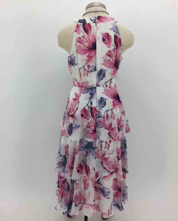 Multi Tiered Floral T Length Dress Back View