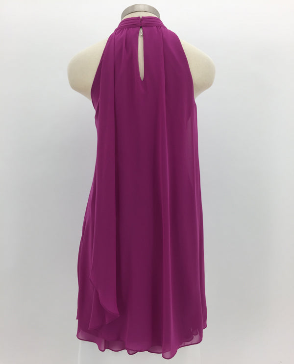 Berry Mock Neck Dress Back View