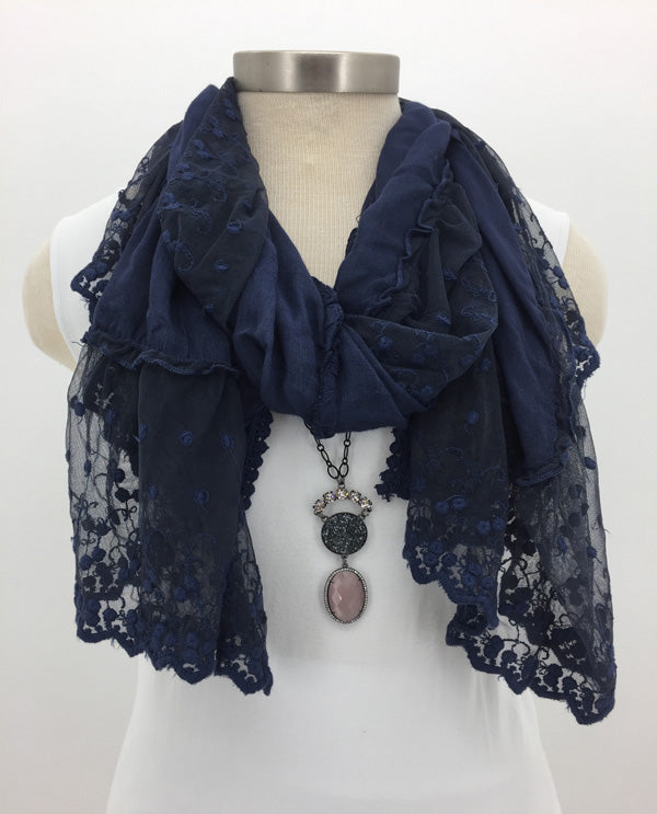 Navy Frilly Lace Scarf