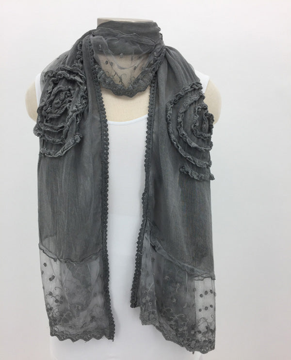 Grey Frilly Lace Scarf