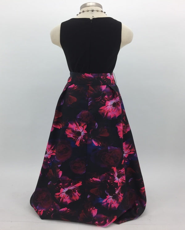 Multi Print Skirt Taffeta Ballgown Back View