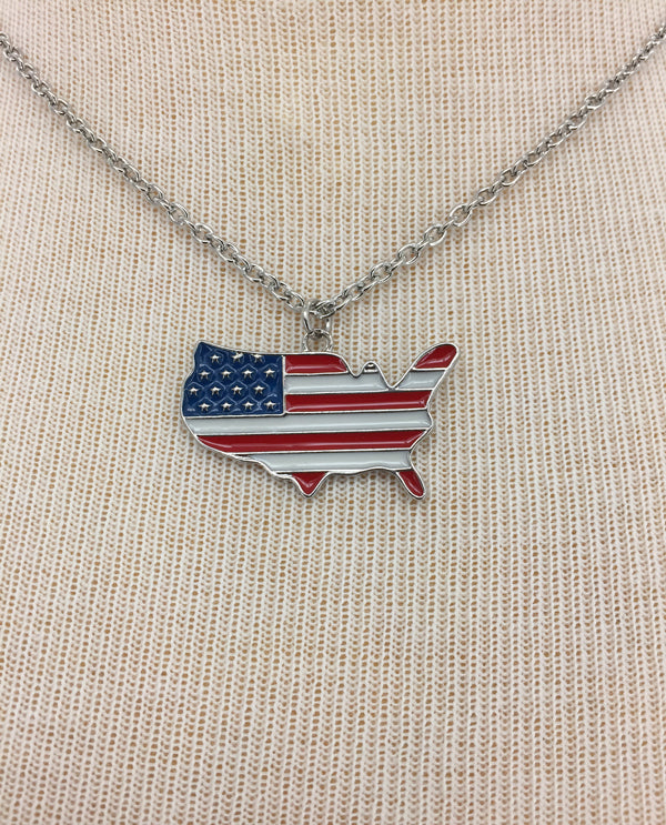 USA American Flag Inspired Necklace