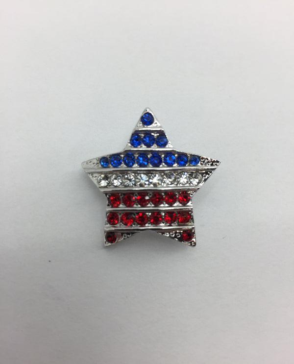 Red, White, And Blue Crystal Star Flag Pin