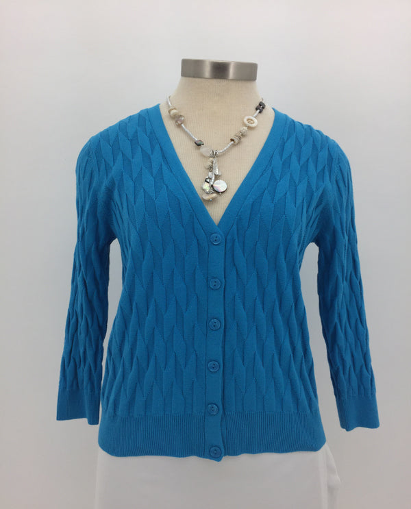 Sky Blue 3/4 Sleeve Button Front Cardigan Front View