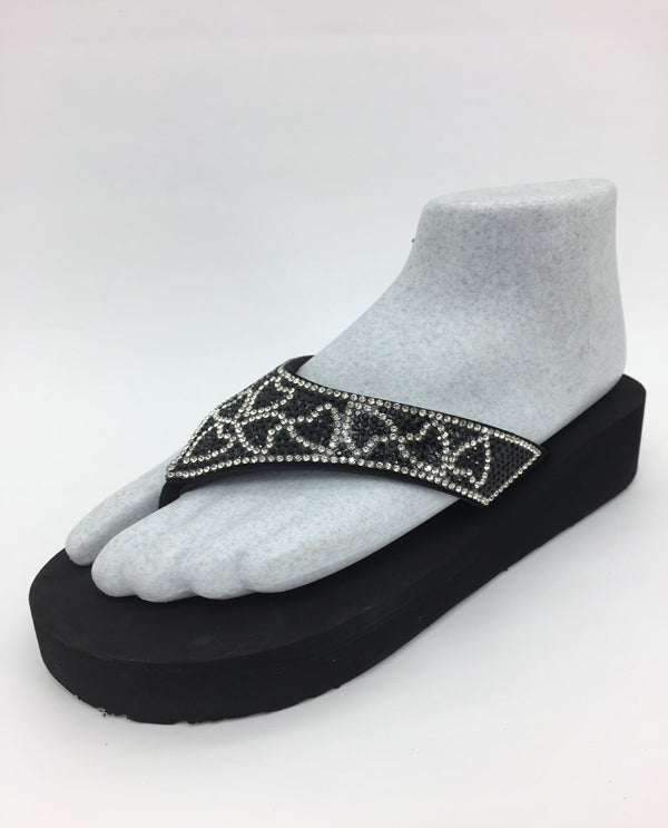 Black And Silver Heart Beaded Wedge\