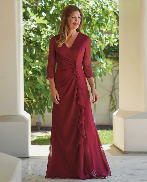 Berry Jade J215005U Tiffany Chiffon Dress with V-Neckline with sash and side slit in the front