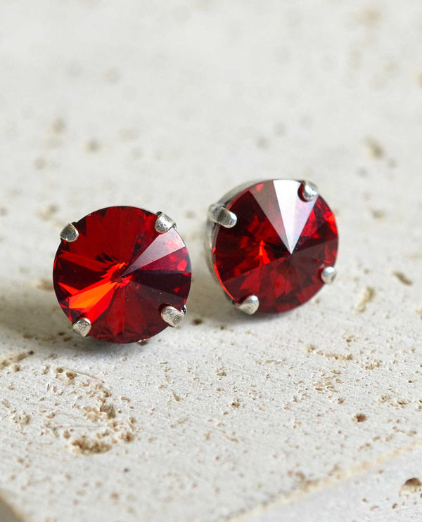 Janna Siam Post Earrings by Rachel Marie Designs red Swarovski stud earrings USA made