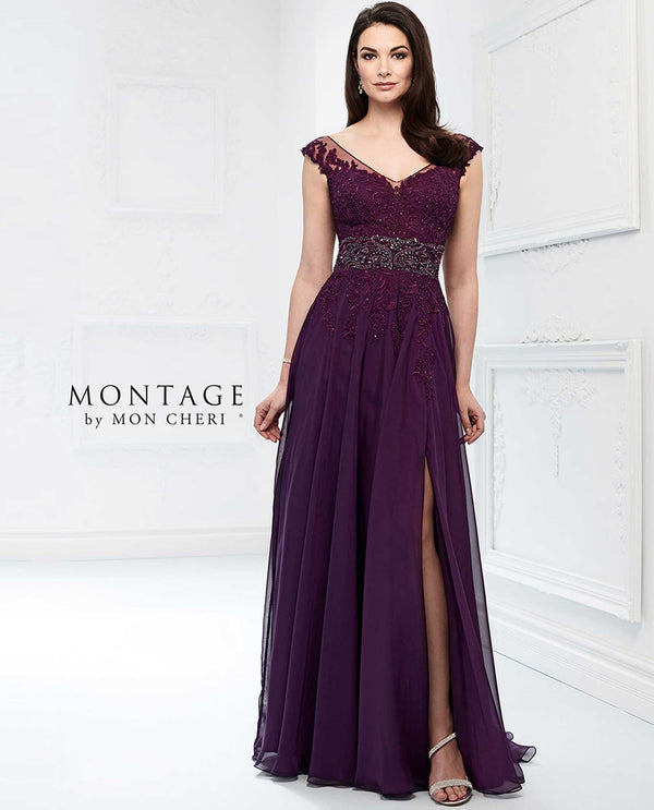 218911 Purple Montage Chiffon Cap Sleeve Dress Plus Size mother of the bride dress with chiffon