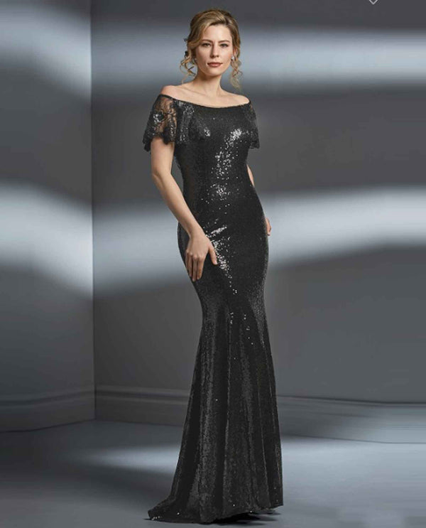 Pewter Jade Couture K198063 Portrait Neckline Sequin Gown