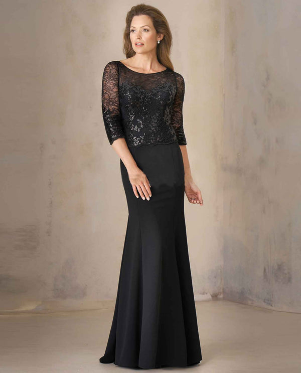 Black Jade Couture K208005 Sequin Lace Stretch Crepe Dress with floor length skirt