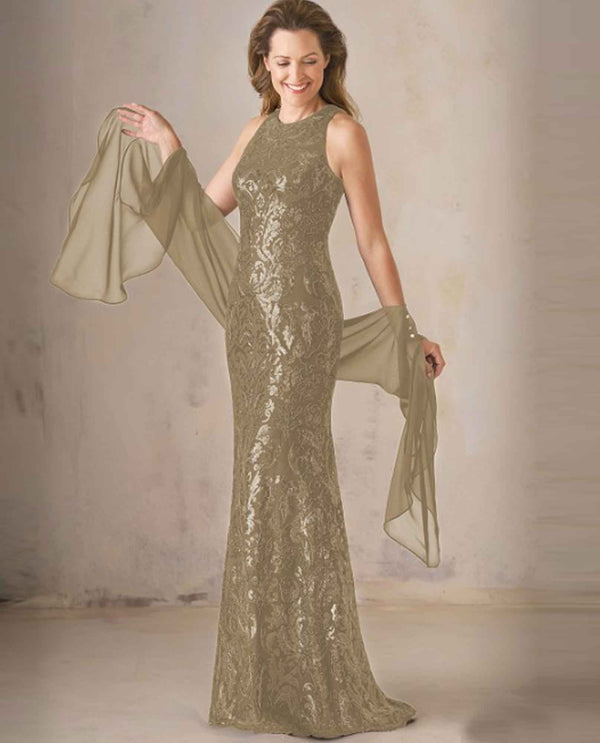 Latte Jade Couture K208007 Metallic Embroidered Dress
