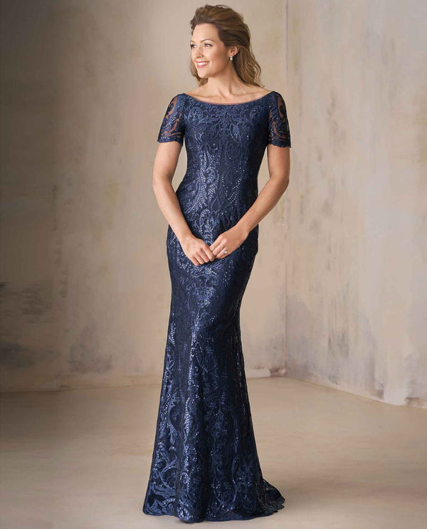 Navy Jade Couture K208009 Lace Portrait Neck Gown with sequin lace