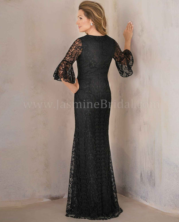 Black Jade Couture K208012 Lace Bell Sleeve Dress