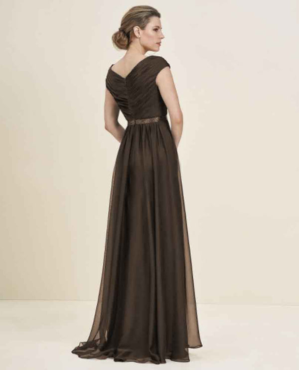 Espresso Jade J195056 Petite Cap Sleeve Full Skirt Mother of the Bride gown with beaded belt