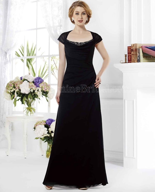 Jade Jasmine 165011 Beaded Neck Gown black short sleeve chiffon mother of the bride gown