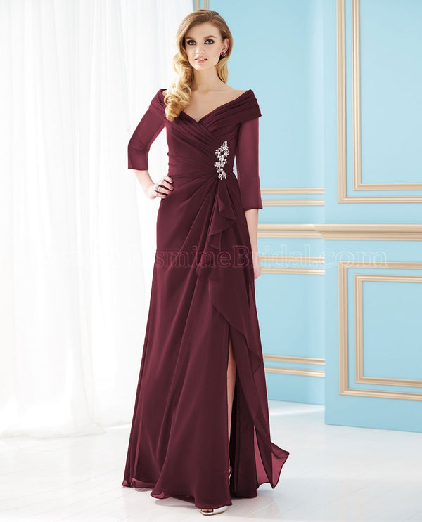 Jade Jasmine J155052 Portrait Neckline Dress Cranberry