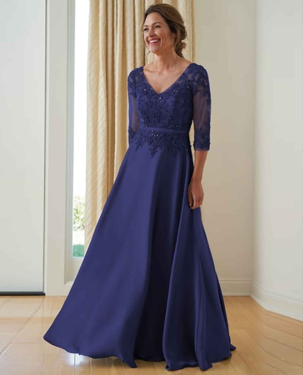 Navy Jade Jasmine K218008 3/4 Sleeve Satin Dress with Lace Bodice