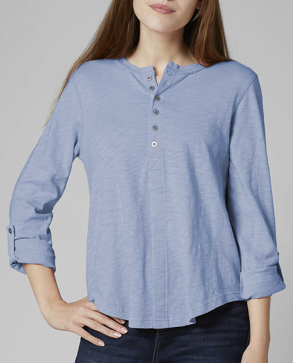 Cost Jag Jeans T2260562 Eleanor Henley Top light blue Henley style top with buttons along the neck