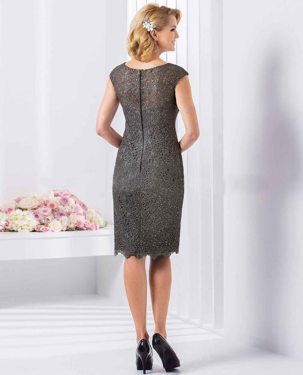Jasmine M180065 Platinum Short Sequin Lace Dress grey short sequin mother of the bride dress