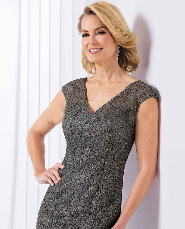 Jasmine M180065 Platinum Short Sequin Lace Dress short sequin mother of the bride dress