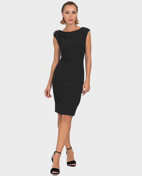 Joseph Ribkoff 192013 Bow Trim Shirred Dress in black